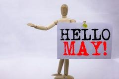 Inspiración conceptual del subtítulo del texto de la escritura de la mano que muestra el hola mayo Concepto del negocio de la pri Fotografía de archivo