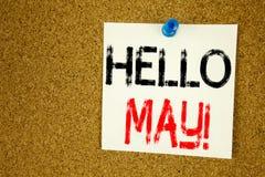 Inspiración conceptual del subtítulo del texto de la escritura de la mano que muestra el hola mayo Primavera Concepto del negocio Foto de archivo libre de regalías