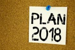 Inspiración conceptual del subtítulo del texto de la escritura de la mano que muestra el plan 2018 Concepto del negocio para el p Fotografía de archivo libre de regalías