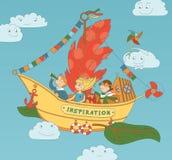 Inspiración de la nave que vuela con los niños felices stock de ilustración