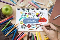 Inspiración de proceso creativa de la idea y de la investigación del diseño Imagen de archivo libre de regalías