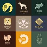 Inspiración del logotipo para las tiendas, compañías, haciendo publicidad con el perro Foto de archivo