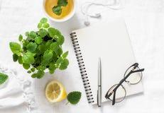 Inspiración del planeamiento de la mañana y té verde del limón del toronjil Libreta en blanco, taza del té, maceta en un fondo bl Foto de archivo libre de regalías