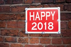 Inspiración del subtítulo del texto de la escritura de la mano que muestra la celebración feliz 2018 del día de fiesta del signif Fotos de archivo libres de regalías