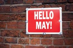 Inspiración del subtítulo del texto de la escritura de la mano que muestra el hola mayo Concepto de la primavera que significa la Imágenes de archivo libres de regalías