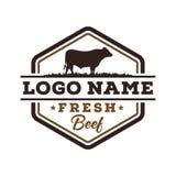 Inspiración fresca del diseño del logotipo del vintage de la carne de vaca stock de ilustración
