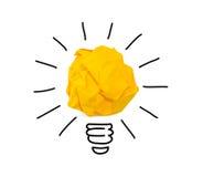 Inspiracja miący koloru żółtego papieru żarówki pomysł Fotografia Royalty Free