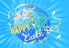 Inspiracja Szczęśliwy Ziemski dzień Kula ziemska i sylwetka nurkowaliśmy białego sztandar na błękitnych promieniach Obraz Stock