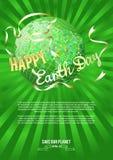 Inspiracja Szczęśliwy Ziemski dzień Kula ziemska i sylwetka nurkowaliśmy białego sztandar na zielonych promieniach Fotografia Royalty Free