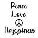 Inspiracyjna i Pamiętająca wycena: Pokój, miłość i szczęście, Obraz Royalty Free