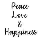 Inspiracyjna i Pamiętająca wycena: Pokój, miłość i szczęście, Zdjęcie Royalty Free