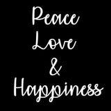 Inspiracyjna i Pamiętająca wycena: Pokój, miłość i szczęście, Obrazy Royalty Free