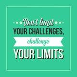 Inspiracyjna wycena Don't ograniczenie twój wyzwania, rzuca wyzwanie twój ograniczenia ilustracji