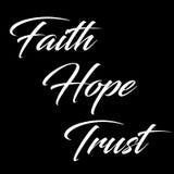 Inspiracyjna wycena: Wiara, nadzieja i zaufanie, Zdjęcie Stock