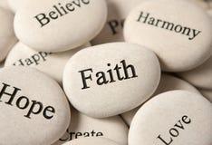 Inspiracyjni kamienie - wiara zdjęcie royalty free