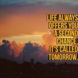Inspiracyjny motywacyjny wycena ` życie zawsze oferuje ci drugą szansę Ja Dzwoni Jutro ` obraz royalty free
