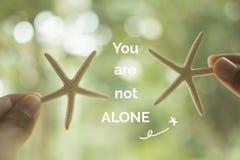 ` Inspirado das citações você não é sozinho ` imagem de stock