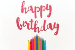 ` Inspirado del feliz cumpleaños del ` de la cita para las tarjetas y los carteles de felicitación Fotografía de archivo libre de regalías