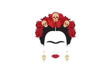 Inspiratie Frida, portret van moderne Mexicaanse vrouw met schedeloorringen en schedels, illustratie met transparante achtergrond stock illustratie