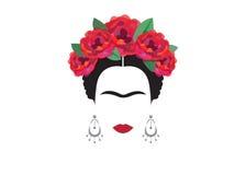 Inspiratie Frida, portret van moderne Mexicaanse vrouw met schedeloorringen, illustratie met transparante achtergrond Stock Foto