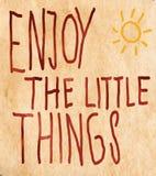 Inspiratie - geniet van de Kleine Dingen in het Leven Stock Fotografie