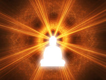 Inspiration. Silhouette of a Buddha with a white glow. Digitally Generated Image Royalty Free Stock Photo