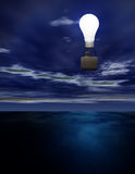 Inspiration. Man looks out from light bulb balloon Royalty Free Stock Photo