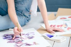 Inspiration art paint hobby draw watercolor design. Inspiration art creation. painting hobby. woman drawing beautiful floral watercolor design Stock Photo