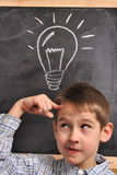 Inspiration by the blackboard. Inspiration of the student by the blackboard-conception Stock Images