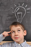 Inspiration by the blackboard. Inspiration of the student by the blackboard-conception Royalty Free Stock Photography