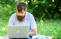 Inspiration for blogging. Looking for inspiration. Blogger becoming inspired by nature. Man bearded with laptop sit. Meadow nature background. Writer looking stock photos