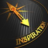 Inspiration. Business Background. Inspiration - Business Background. Golden Compass Needle on a Black Field Pointing to the Word Inspiration. 3D Render Stock Photos