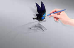 Inspiration concept with beautiful butterfly. Inspiration concept with human hand and beautiful butterfly Royalty Free Stock Image