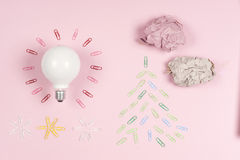 Inspiration concept crumpled paper light bulb metaphor for good idea Royalty Free Stock Images