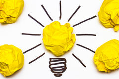 Inspiration concept crumpled paper light bulb metaphor Stock Images