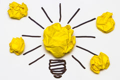 Inspiration concept crumpled paper light bulb metaphor Royalty Free Stock Photography