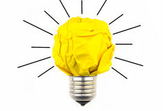 Inspiration concept crumpled paper light bulb metaphor for good Royalty Free Stock Images