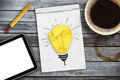Inspiration concept crumpled paper light bulb metaphor for good idea royalty free stock photos