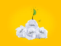 Inspiration concept crumpled paper light bulb metaphor for good idea. Inspiration concept from crumpled papers and light bulb metaphor for good idea Royalty Free Stock Photography
