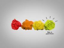Inspiration concept crumpled paper light bulb metaphor for good idea Stock Image