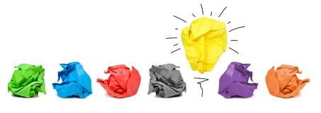 Inspiration concept crumpled paper light bulb metaphor for good idea. Inspiration concept with crumpled paper light bulb metaphor for good idea and solution stock photos