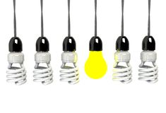 Inspiration concept illuminated light bulb metaphor for good idea Royalty Free Stock Photos