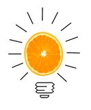 Inspiration concept of orange as light bulb metaphor for idea Royalty Free Stock Photos