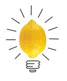 Inspiration concept yellow lemon as light bulb metaphor for good Royalty Free Stock Photos