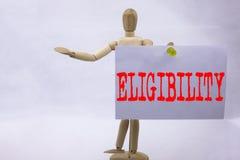 Inspiration conceptuelle de légende des textes d'écriture de main montrant le concept d'affaires d'éligibilité pour l'éligibilité Images stock