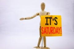 Inspiration conceptuelle de légende des textes d'écriture de main montrant le concept d'affaires de samedi pour le week-end heure Photos libres de droits