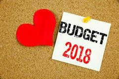 Inspiration conceptuelle de légende des textes d'écriture de main montrant le concept 2018 de budget pour le writte financier de  Photo libre de droits