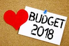 Inspiration conceptuelle de légende des textes d'écriture de main montrant le concept 2018 de budget pour le writte financier de  Image libre de droits