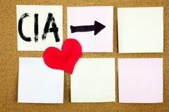Inspiration conceptuelle de légende des textes d'écriture de main montrant le concept de CIA pour l'abréviation et l'amour écrit  Images stock
