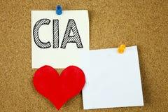 Inspiration conceptuelle de légende des textes d'écriture de main montrant le concept de CIA pour l'abréviation et l'amour écrit  Photos stock